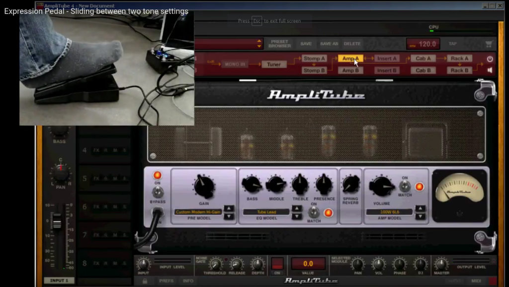 Expression pedal with Amplitube